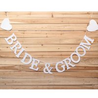 Vente en gros Papier Mr Mme Love Heart Photo Booth Props Bannière Wedding Bunting Party Decor Sweet Home Bride Groom Happy Ever After