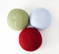 Wholesale Crochet Round Cushion - New Style Knitted Woolen Round Cushion POUF Stools Floor Ottomans Eight Colors Free Shipping Living Room Funiture Crocheted Seat Cushionfoam