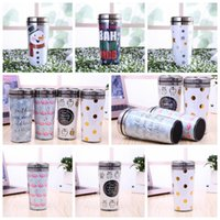 Wholesale Owl Mugs - Cartoon Water Bottle Stainless Steel Xmas Drinkwear Flamingo Stemless Mugs Owl Vacuum Insulated Cups Christmas Gifts CCA7611 120pcs