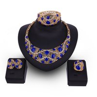 Wholesale Asian Bridals - Gold Plated hollow Geometric Bridal jewelry set Earring Necklace Bangle Wedding Engagement bridals Dubai Jewelry Sets Wholesale