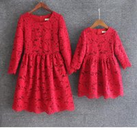 Wholesale Clothing For Moms - 4 Colors Mother Daughter Dresses European style Mom and Me Lace Matching Dress Mother and Maughter Clothes for Party Christmas Gifts S071