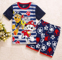 Wholesale Set Summer For Boys - New Kids Clothes Set Summer Boys Girl pajam Clothes Sets Baby T-Shirts + Short Pants Dogs Sports Suit for Boy Outfits