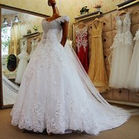 Wholesale Scarves Wedding Dresses - Luxury High Quality Beading Sequins Crystal Lace Wedding Dresses Real With Scarf White Custom Made Wedding Bridal Gowns Formal Bride Dresses