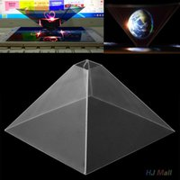 "Wholesale 3d Smart Phones - Wholesale-3D Holographic Hologram Display Stand Pyramid Projector Video For 3.5-6.5"" Mobile Smart *Phone"