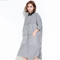 Wholesale Stripe Batwing Shirt - 2017 Spring Summer Fashion New Half Sleeve Stripe Pocket Dress Leisure Split Long Dresses Big Size Woman T20401