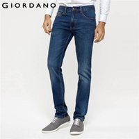 Wholesale Indigo Purple - Wholesale-Giordano Men Jeans Tapered Casual Denim Pants Masculin Homme Soft Cotton Denim Trousers Indigo Pockets Jeans Fashion