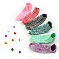 Wholesale Colored Cotton Socks Women - Wholesale- Brand NEW Thick Thread Ankle Socks Sweet- Colored Cotton Boat Socks For Women Sock Slippers *41