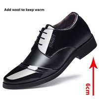 Wholesale Black Velvet Wedge Shoes - 2017 NEW Men's casual shoes With velvet Keep warm Heighten shoes 6cm Leather dress business casual shoes Soles Dichotomanthes lace up