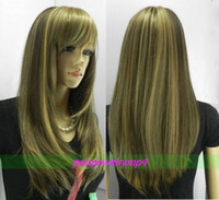 LONG DARK BROWN BLONDE MIX STRAIGHT WIG LIVRAISON GRATUITE