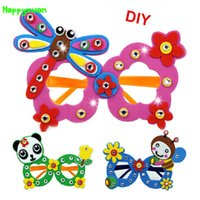 Wholesale Wholesale Crafts For Kids Party - Happyxuan 16 pcs lot Cute DIY Cartoon Glasses Eva Craft Kits Kindergarten Toys for Kids Birthday Party Gift
