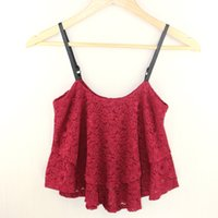 Wholesale Korean Cute Sexy - Wholesale-2016 New Korean Summer Women Sexy Ruffle Spaghetti Strap Lace Vest Low-cut Cute Lace Shirts Ladies Crop Tank Tops