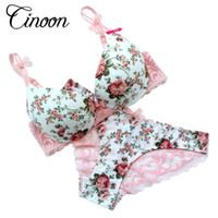 Wholesale Sets Panties - Famous Brand Sexy High Quality Women Print Bra set Silk Lace Flower Push up Big size Underwear Bow Bra and Hollow out Panties