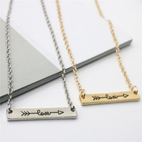 Wholesale Initial Gold - Ingenious Lovers Necklace Love Letters Pendants Necklace Alloy Arrow Through Heart Short Chain Necklace Jewelry Gift