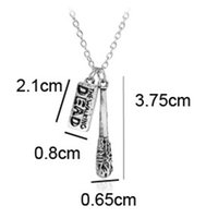 Wholesale walking dead christmas - fashion jewelry antique silver The Walking Dead necklace Cudgel and letter logo pendant necklace keychain Drop Ship 161866