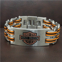 Wholesale Fashion Mens L Stainless Steel Dull Polishing Silver Orange Biker Bracelet Polishing Letter Biker Bracelet