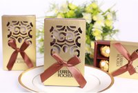 Wholesale Gold Box Wedding - 100pcs Wedding Favors gold color chocolate packaging 6 hole Baby Shower Paper Candy Gifts Box Ferrero Rocher Boxes