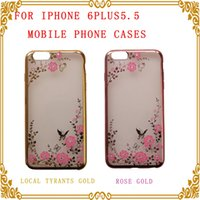 Wholesale Ten Phones - for iphone7g 4.7 Soft Silicone Flowers transparent Set auger Phone Protective sleeve Mobile phone protection shell free shipping ten pcs