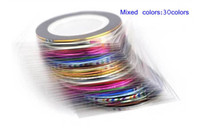 Wholesale 30Pcs 30 Multicolor Mixed Colors Rolls Striping Tape Line Nail Art Decoration Sticker DIY Nail Tips