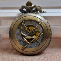 Wholesale Golden Face The Hunger Games Ridicule Bird Large Quartz Pocket Watch Men Women Gifts Reloj PA214