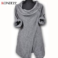 Wholesale Shrug Womens Cardigan - Wholesale-KONDELL Womens Sweaters Fashion Autumn Chothing Winter Shrug Sweater Loose Sexy Cardigan Women Plus Size Fall Oversized Cardigan