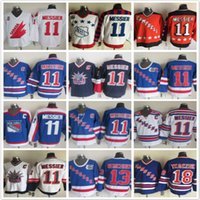 Throwback Rangers de New York 11 Mark Messier 13 Kevin Hayes 18 Chris Kreider Maillots de hockey sur glace blanc bleu