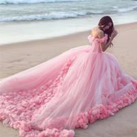 vestidos de tul rosa al por mayor-2017 Venta Caliente Rosa Nube 3D Flor Rosa Vestidos de Novia Largo de Tul Puffy Ruffle Robe De Mariage Vestido de Novia Dijo Mhamad vestido de Novia