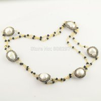 Moda DIY 3Pcs Gold Plated Black Crystal Chains Pave Rhinestone Pearl Beads Charm Necklaces Jewelry Finding