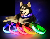 Wholesale led dog collar lights online - 2017 new LED lights flashing light nylon pet dog collar small and medium sized dog pet dog lead flash safety collar