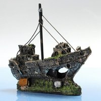 Wholesale Aquarium Boat - 11CM*5CM*13CM Resin Material Beautiful Aquarium Ornament Wreck Sailing Boat Sunk Ship Destroyer Fish Tank Aquarium Decoration