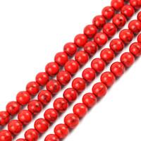ingrosso round red beads-4mm 6mm 8mm 10mm 12mm Pick Size Perline di pietra sintetica Rotondo Allentato Distanziatore Rosso Perle di Pietra Turchese Per DIY Collana Braccialetto