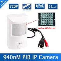 Wholesale Pir Ir Camera - H.264 HD 720P IP Camera PoE Motion Detector PIR Style CCTV Mini IP Camera 1.0MP P2P&Onvif + Invisible IR 940nm Night vision