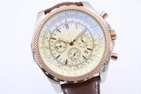 Wholesale New Auto Net - Luxury Brand White Dial Net Bezel Big Watch Mens Quartz Movement 6.75 Supper Quality Men Chronograph Leather Belt Watches Wristwatch
