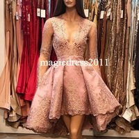 Wholesale Queen Size Vintage - Waltercollection 2017 Pink A-Line Deep V-Neck Cocktail Dresses Illusion Long Sleeves Lace Hi-Lo Homecoming Party Queen Prom Dresses
