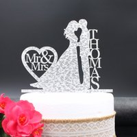 Wholesale Personalized Birthday Cakes - Personalized Wedding Cake Topper Acrylic silver gold glitter,Custom wedding Bride holding and Grooms cake topper last name