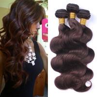 "Wholesale 22 Chocolate Brown Extensions - Dark Brown Body Wave Virgin Hair 3 Bundles 10""-30"" Colored #2 Chocolate Brown Peruvian Human Hair Weaves 3Pcs Lot Hair Extensions"
