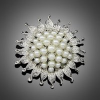 Wholesale Cheapest Wedding Bouquets - Wholesale- Cheapest High Quality Silver Color Flower Five Cream Full White Simulated Pearl Brooch Bouquet for Wedding