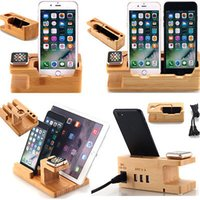 Wholesale Docking Station For Iphone Ipad - Wood Charging Stand phone holder for iphone 6 6 plus 5S Apple Watch iwatch iPad Dock Charge Station