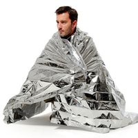 Wholesale Space Blankets Wholesale - New Outdoor Water Proof Emergency Survival Rescue Blanket Foil Thermal Space First Aid Sliver Rescue Curtain Military Blanket