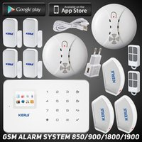 Wholesale Remote Curtain System - LS111- App remote control GSM home alarm system kit with 2 fire smoke detector 3 curtain pir 4 door window sensor Easy Operation