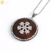 Wholesale Wooden Star Beads - CSJA New Statement Necklaces Women Jewelry Rhinestone Beads Wooden Charms Pendant Necklace Star Superman Sun Snowflake Christmas Gift E579 B