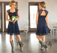 mavi dantel geri gelinlik toptan satış-Ülke Kısa Dantel Gelinlik Modelleri Kılıf Aç Geri Sevgiliye Diz Boyu 2017 Lacivert Düğün Konuk Törenlerinde Hizmetçi Onur Parti Elbise
