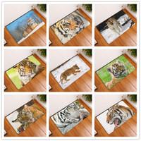 Wholesale White Animal Rug - 2017 New Home Decor Anti-Slip Carpets HD Tiger Pattern Animal World Wild Scene Style Mats Bathroom Floor Kitchen Rugs 40X60 50X80cm
