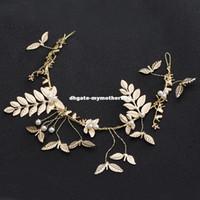 alın için mücevherat toptan satış-El yapımı Moda Altın Renk Yaprak Bandı Gelin Saç Vine Saç Takı Inci Düğün Alın Headpieces Metal Saç Bandı
