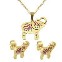 Wholesale Elephant Pins - 2016 Lately Mysterious Indian Jewelry Set Elephant Design Choker Necklace Pendant 316L Surgical Steel Pin Earrings Jewelry