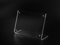 6*9cm Upright Clear Acrylic Magnetic Label Holder Stand L Shape Poster Banner Menu List Frame Advertising Black Sign Display Office & School Supplies