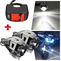 Mayitr 2PCS Motocicleta U5 LED farol 125W 3000LM Spot impermeável Driving névoa luz branca lâmpada + Bicicleta Pit Switch ON-OFF Switch