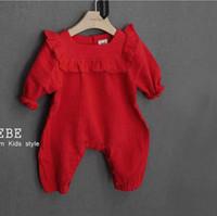 Wholesale Long Sleeve Newborn Girls Bodysuits - 2016 Newborn Baby Girls big red long sleeve Clothes princess Rompers Baby girls clothing Infant Jumpsuit spring autumn bodysuits