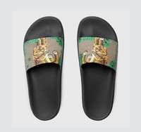 Wholesale flower green heels online - Fashion leather slide sandals slippers men women Hot tiger Designer flower printed unisex beach flip flops slipper BEST QUALITY