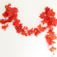 сады кленовых листьев оптовых-Wholesale- New 2.4m 1ft Windowill Autumn Leaves Garland  Vine Fake Foliage home garden Decoration