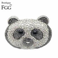 Wholesale Bear Clutch Bag - Wholesale- Panda Bear China AAA Grade Clear Crystal Women Evening Clutches Purse Rhinestones Ladies Purses Wedding Clutch Bag Party Bags